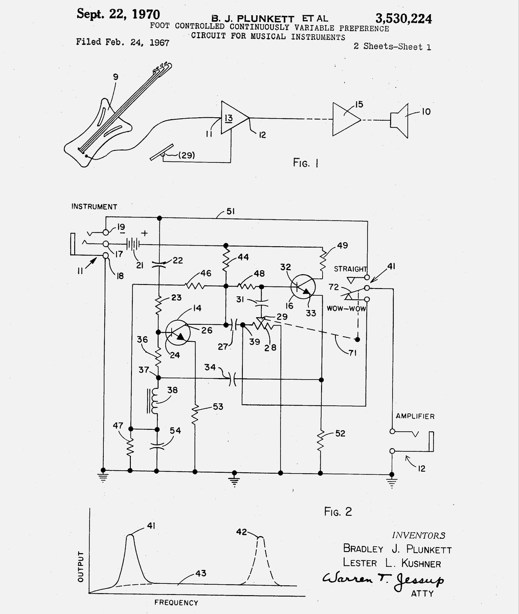 The Old Reader Wah Schematic In Addition Volume Pedal On Dunlop Patent For Secured 1970 Came A Little Too Late Google Patents