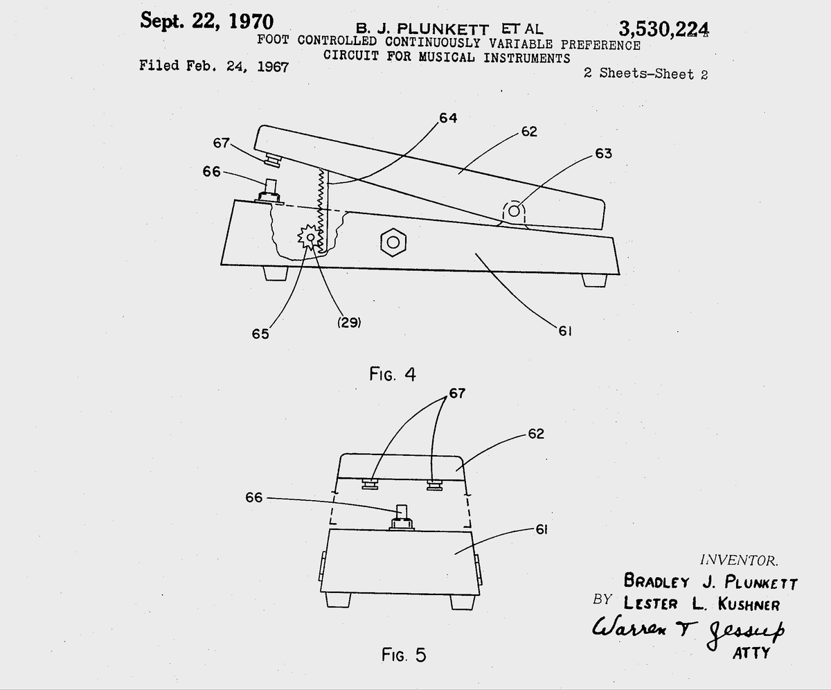 The Old Reader Heres A Closeup Of Wah Circuit Patent For Pedal Secured In 1970 Came Little Too Late Google Patents