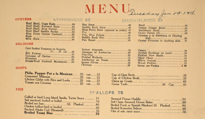 What americans used to eat for American cuisine menu