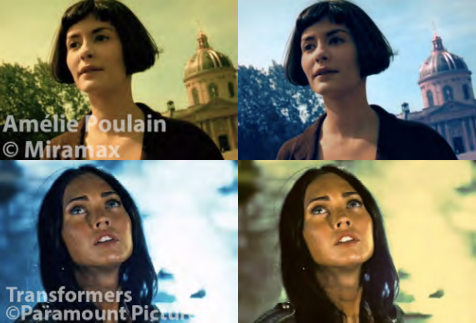 Amelie , color graded in orange and blue like Transformers (top), and ...